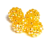 2pc 10mm acrylic rhinestone rounds yellow