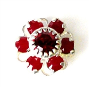 1pc swarovski crystal filigree flower small 10mm coral red silver