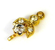 1pc gold plated rhinestone connector fluer