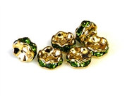 4pc 6mm gold plated rhinestone rondelles peridot green