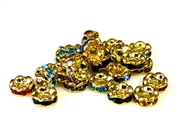 6pc rhinestone rondelle mix gold plated 6mm