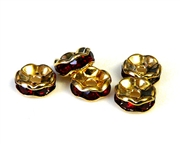 4pc 8mm gold plated rhinestone rondelles red