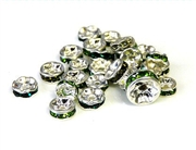 4pc 6mm silver plated green rhinestone rondelle mix