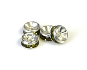 4pc 5mm rhinestone rondelles silver plated olivine green