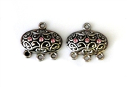 1pr antique silver chandilier earrings 3 strand rose oval 15x10mm