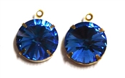 1pc Crystal Rivoli Stone 14mm Sapphire Blue with Setting