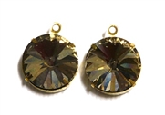 1pc Crystal Rivoli Stone 14mm Black Diamond with Setting