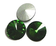 3pc Crystal Rivoli Stone 14mm Dark Green