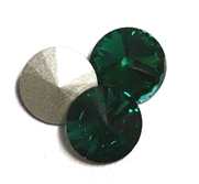 3pc Crystal Rivoli Stone 14mm Emerald Green
