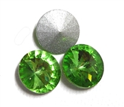 3pc Crystal Rivoli Stone 14mm Peridot Green