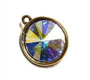 1pc Swarovski Crystal Rivoli Stone 14mm Clear AB 1 Loop Setting