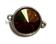 1pc Swarovski Crystal Rivoli Stone 14mm Crystal Copper 2 Loop Setting