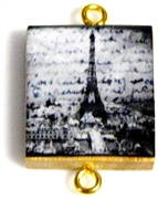 1pc Scrabble Tile Connector Grey Paris Words Gold Plated