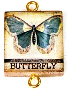 1pc Scrabble Tile Connector blue butterfly gold Plated