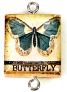 1pc Scrabble Tile Connector blue butterfly silver Plated