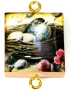 1pc Scrabble Tile Connector Bird in nest gold Plated