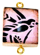 1pc Scrabble Tile Connector pink bird gold Plated