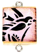 1pc Scrabble Tile Connector pink bird silver Plated