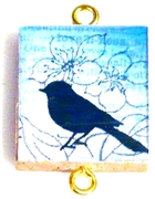 1pc Scrabble Tile Connector Blue bird gold Plated