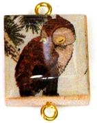 1pc Scrabble Tile Connector japaneese owl gold Plated