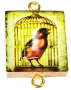 1pc Scrabble Tile Connector Bird in birdcage gold Plated