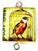 1pc Scrabble Tile Connector Bird in birdcage silver Plated