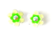 2pc flower enamel slider peridot 15mm