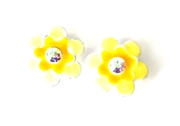 2pc flower enamel slider yellow 15mm