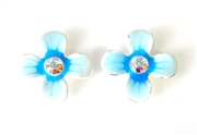 2pc fragipani enamel slider blue 15mm