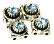 4pc silver plated slider beads aquamarine round