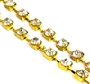 1m rhinestone 4mm chain gold plated