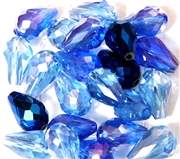 6pc vertical hole teardrop crystals Blue Mix 15x10mm
