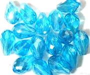 6pc vertical hole teardrop crystals Aquamarine Blue 15x10mm