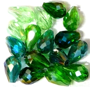 6pc vertical hole teardrop crystals Green Mix 15x10mm