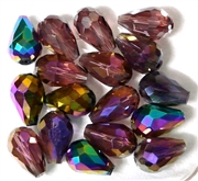 6pc vertical hole teardrop crystals Dark Purple Mix 15x10mm