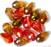 6pc vertical hole teardrop crystals Topaz / Orange Mix 15x10mm