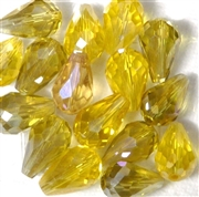 6pc vertical hole teardrop crystals Yellow Mix 15x10mm