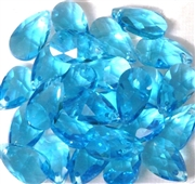 4pc Faceted Crystal Teardrop Aquamarine Blue 16x9mm