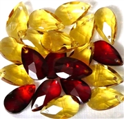 4pc Faceted Crystal Teardrop Red Yellow Mix 16x9mm