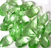 4pc Faceted Crystal Teardrop Peridot Green Mix 16x9mm