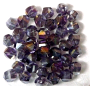 10pc Faceted Crystal Twist Rounds Amethyst AB 8mm