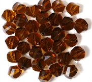 10pc Faceted Crystal Twist Rounds Smokey Topaz  8mm