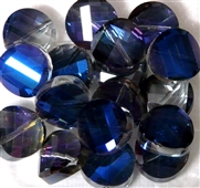 4pc Faceted Crystal Twist Coin 14mm Bermuda Blue