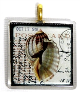 1pc 35mm Vintage Glass Pendant Shell Gold Bail