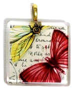 1pc 35mm Vintage Glass Pendant Red Yellow Butterflies Gold Bail