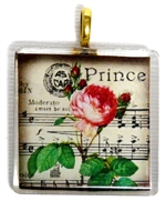 1pc 35mm Vintage Glass Pendant Rose Music Gold Bail