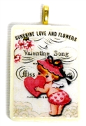 1pc 38mm Majong Pendant Valentine Girl Gold Bail