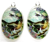 2pc 30mm Oval Vintage Charm Set Teal Bird