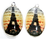 2pc 30mm Oval Vintage Charm Set Paris Writing