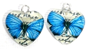 2pc 18mm Glass Heart Charm Set Blue Butterflies